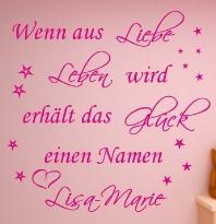 Wandtattoo mit Wunschnamen Wenn aus Liebe Leben wird** 120cm x 90 cm