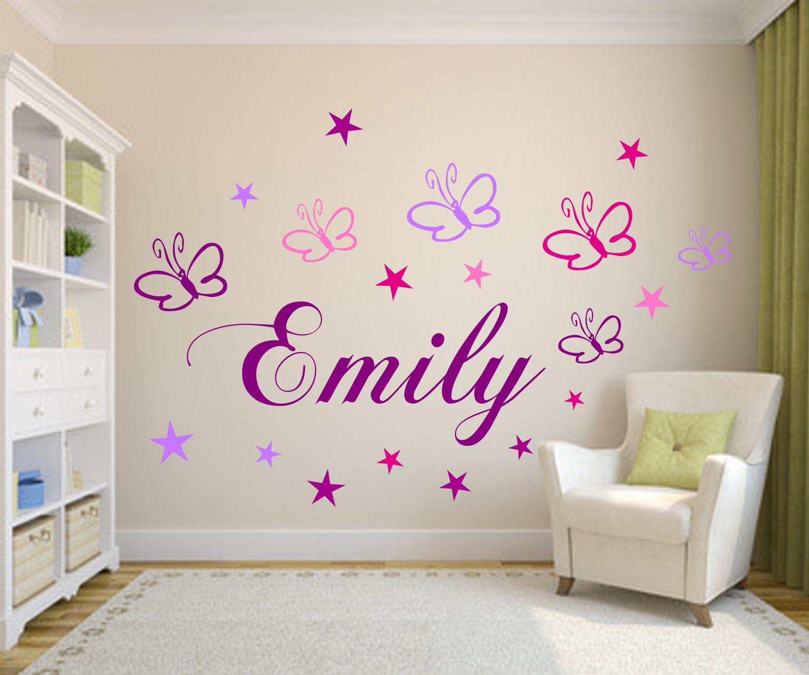 Details zu Wandtattoo Kinderzimmer Namen m. Schmetterlingen+Sternen Baby  persoalisiert