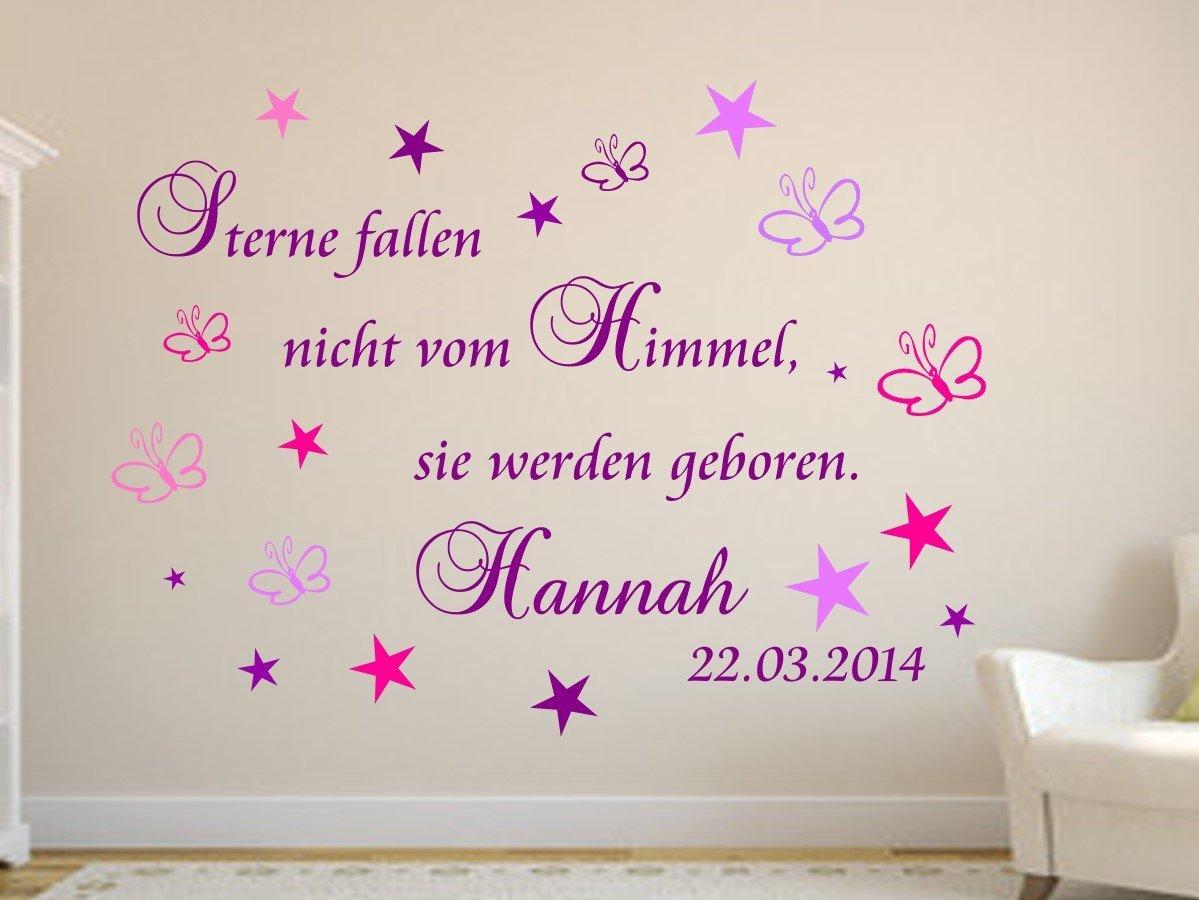 Details zu Wandtattoo *Sterne fallen nicht vom Himmel..Wand Spruch  Kinderzimmer Baby Geburt