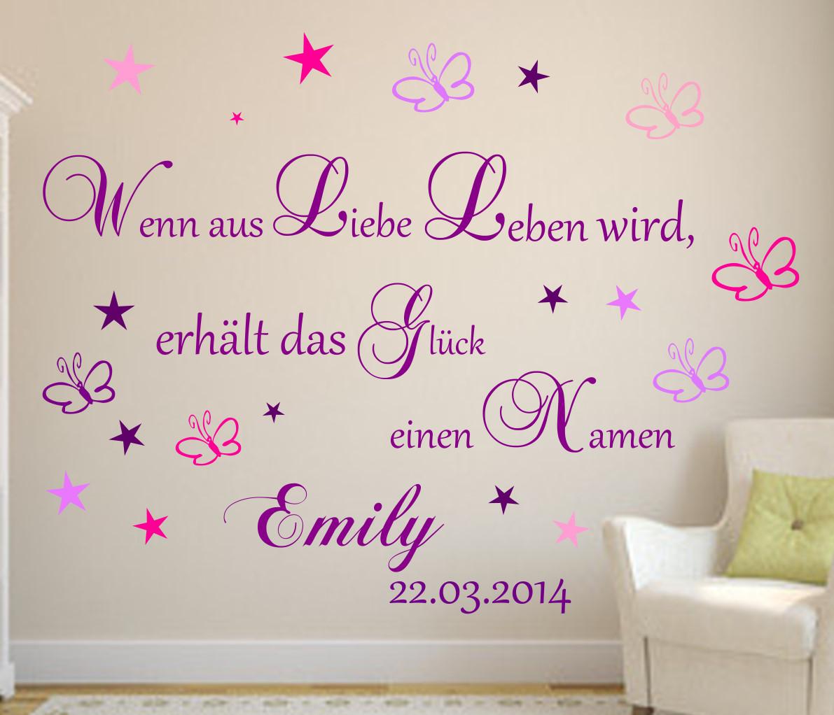 Details zu Wandtattoo Kinderzimmer Wenn aus Liebe Leben wird... Baby Wunsch  Namen Sterne